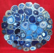 Exclusive Natural Blue Agate Coffee Table Top, Agate Stone Flower Cut Table Top