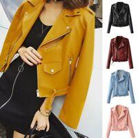 Women Faux Leather Zip Bomber Jacket Biker Short Coat Casual Tops Outwear NEW