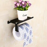 Wall Mount Toilet Paper Bathroom Tissue Holder Mobile Phone Storage Shelf G