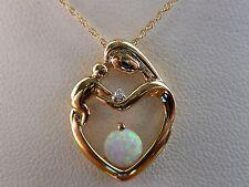 "ZALES Mother's Day Mother & Child Heart Lab Opal Diamond Necklace- 10k Gold- 18"""