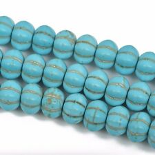 12mm Howlite PUMPKIN Beads, Turquoise Blue, full strand, about 52 beads, how0553