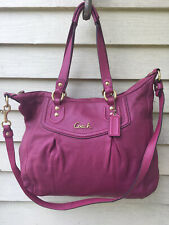 Coach Ashley Large Fuchsia Leather Satchel