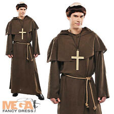 Friar Tuck Mens Fancy Dress + Wig Monk Medieval Religious Adults Costume Outfit