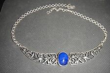 """CP India Sterling Silver Blue Lapis Choker Necklace, 18"""""""