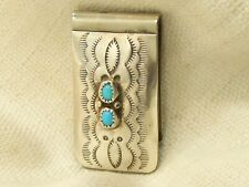 Estate Sterling Silver Money Clip Turquoise Native American W. Spencer
