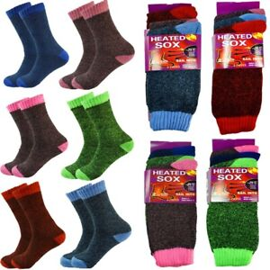 12 Pairs Womens Winter Thermal Heated Warm Cushion Boots Crew Socks Size 9-11