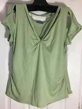 Brand New Angel Green Color very sexy Top Cap Sleeve 4XL Stretch Top V Neckline