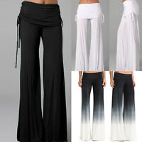 WOMENS PALAZZO TROUSERS LADIES WIDE LEG FLARED LOOSE PANTS LADIES-SIZE 6-14