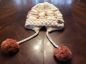 K L F Winter Fleece Lined Hat Tassles Balls Womens Winter Cap