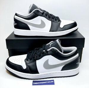 Nike Air Jordan 1 Retro Low Black White Grey Shadow (2021) 553558-040 Mens + GS