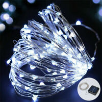 100 Led Solar Power Fairy Light String Lamp Party Xmas Deco Outdoor Clear White