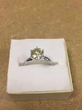 SOLITAIRE 14k white gold 6 prongs round ENGAGEMENT RING 2 ct. Moissanite 8.15mm