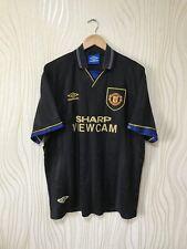 MANCHESTER UNITED 1994 1995 AWAY FOOTBALL SHIRT SOCCER JERSEY UMBRO BLACK