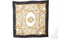 Christian Dior Scarf 100% Silk Dot Logo CD Stole Shawl Beige 3148k