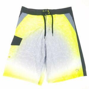 Op Ocean Pacific Mens 28 Flex 4 Way Stretch Board Shorts Neon Green Geometric