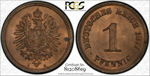Germany 1877-A 1 Pfennig, KM-1, PCGS MS64RB, RARE DATE