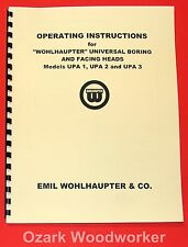 WOHLHAUPTER Boring & Facing Heads UPA 1,UPA 2,UPA 3 Instructions Manual 1056