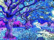 ABSTRACT PAINTING AUTUMN TREE FALL BLUE PURPLE POSTER ART PRINT PICTURE BB223A