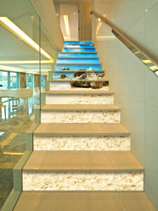 13Pcs 3D Waterfall Stone Patterns Stair Sticker Self-adhesive Staircase Stickers