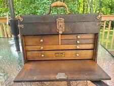 "Antique 5 Drawer Machinist Tool Box Wood Chest w/ lock & key 18"" x 12 "" x 9"""