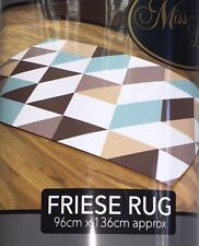 Friese Curved Diamond Style Blue Brown White Runner Rug Mat Dirt Stopper