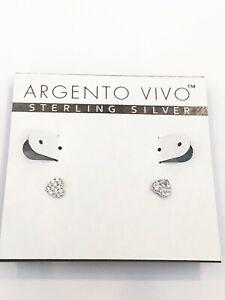 Argento Vivo Pave Heart Stud Earrings Sterling Silver