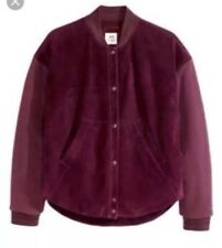 $299 H&M Studio Collection Burgundy Purple Suede Baseball Bomber Jacket Size XS