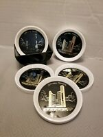 1970s VINTAGE PLASTIC COASTERS SET - LOT OF 6-TORONTO CANADA SOUVENIR