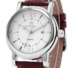ORKINA Brown Leather Analog Date Quartz Army Steel White Dial Men's Wrist Watch