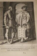 GRAVURE BELGIQUE LUDOVICUS ET CAROLOMANNUS  BRABANT VEEN COLLAERT 1623 R978