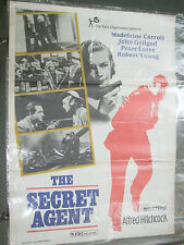 ALFRED HITCHCOCK THE SECRET AGENT MADELEINE CARROLL RARE POSTER INDIA NFDC orig