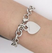 """Authentic Tiffany & Co 925 Sterling Silver Heart Tag Charm Bracelet 7.5"""""""