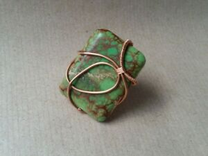 Copper and Sea Sediment Jasper Wire Wrapped Large Statement Ring Handmade