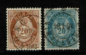 Norway SC# 43 & 44, Used, both strong wmk - S15212