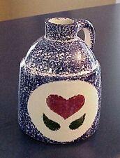 Vintage Flat Earth Pottery Jug Spongeware Folk Art Heart