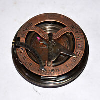 "Antique vintage brass compass 4"" maritime marine sundial compass good gift item"