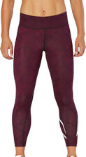 2XU Mid-Rise Print Womens 7/8 Compression Training Tights - Red