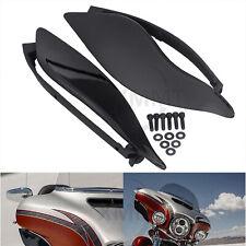 Black Adjustable Fairing Side Wings Air Deflectors Fir For Harley Touring 14-19