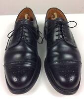 Men's Allen Edmonds Lexington Black Leather Brogue Cap Toe Shoes Size 10.5 EEE