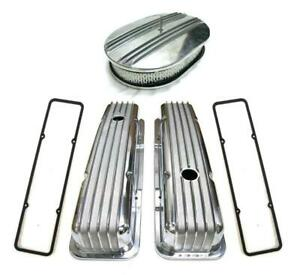 """Small Block Chevy Polished Aluminum Finned Valve Covers + 12"""" Air Cleaner Gasket"""