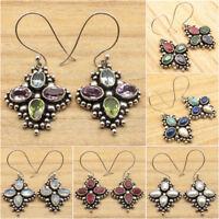 4 Gem FLOWER Earrings ! 925 Silver Plated MULTISTONE & Other Gemstones Variation