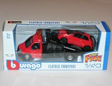 Burago - FLATBED TRANSPORT + FIAT 500 (Red) - 'Street Fire' Model Scale 1:43