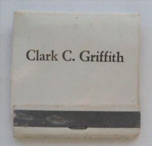 1940's Clark C. Griffith Personal Matchbook Senators - Rare as Rare gets!