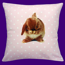 "NEW NOVELTY CUTE BUNNY RABBIT ON PINK WITH WHITE POLKA DOT 12"" Pillow Cushion"