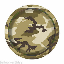 """8 Green Brown Army Military Camo Camouflage Birthday Party Small 7"""" Paper Plates"""