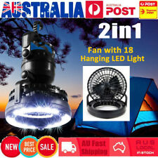 2in1 18LED Tent Camping Light Night Lamp+Fan Weather Resistant Hand Held Hook AU