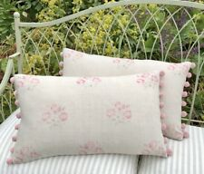 "NEW Kate Forman Kitty Pink Linen Fabric 20""x12"" Pom Pom or Piped Cushion Cover"