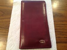 Auth Vtg GUCCI Italy Anniversary Collection Merlot Lthr Checkbook Card Wallet