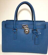 NWT $358 Michael Kors Hamilton Saffiano Leather Steel Blue Large EW Satchel