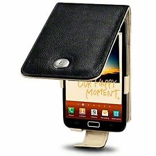 For Samsung Galaxy Note N7000 Genuine Leather Flip Case Cover - Black